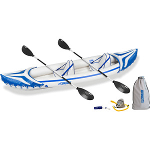 Sea Eagle 370 3 Person Blow Up Inflatable Sport Tandem Kayak Canoe (Open Box)