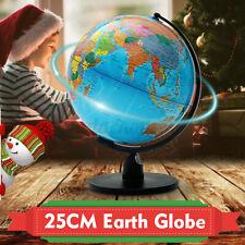 Educational Rotating World Globe Earth Geography Desktop Home Office Decor 25cm