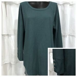XXL - NWT CHASER Brand Womans Teal Green Button Cuff Thermal Top