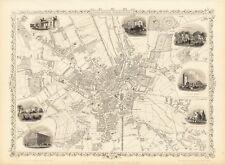 Antique Bradford England decorative map Tallis 31,5 x 23,6 inch canvas