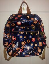 FOSSIL Blue Coated Leather Flower Cheetah Print KeyPer Backpack Rare School Bag