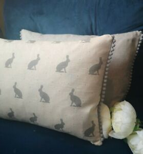 "16x12"" Cottage hares rabbit grey beige cream soft linen look  cushion cover pom"