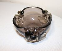 vintage hand blown Murano smokey quartz art glass cigarette cigar ashtray Italy