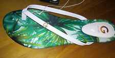 new womens shoes white patent G by GUESS THONG FLIP FLOPS sandals SIZE 7.5 M