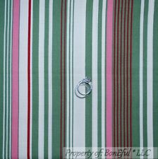 BonEful Fabric FQ Cotton Quilt VTG Cream Green Pink Stripe Farm Girl John Deere