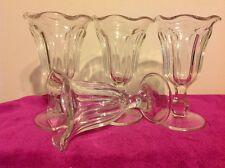 Vintage Paneled Glass With Ruffled Rim Ice Cream Sundae Parfait Dishes Bowls x 4