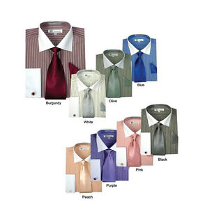 Men's Striped Formal Casual Dress Shirt with French Cuff Links,Tie and hanky