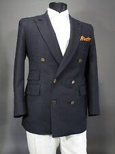Bespoke Navy Blue Hopsack Double Breasted Blazer Sport Coat 39 40 S R, Asser Tie