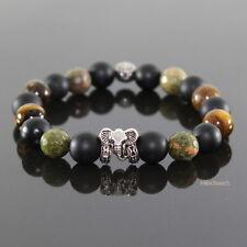 Damen Safari Elefant Perlen Armband Onyx Shamballa für Frauen