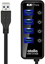 Atolla USB 3.0 Hub 4 Ports Extension Super Speed Data Transfer With On Off And