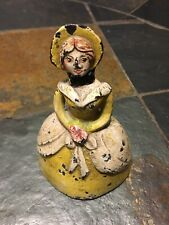 """Antique Cast Iron Southern Belle Full Bodied Solid Figural Door Stopper -5"""" tall"""