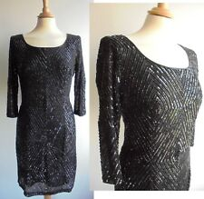 WALLIS Black Beaded Dress Short Cocktail Length 3/4 Sleeves Party Cruise Size 10