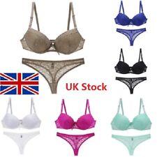 2Pcs/Set Women's Lace Floral Push Up Gather Bra+Briefs Nightwear Underwear ILC