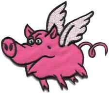 Pink flying pig swine punk rock & roll embroidered applique iron-on patch S-1590
