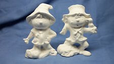 Ceramic Bisque Scarecrow Set of 2, Macky Mold- Ready to Paint