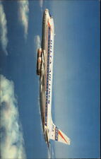 Delta Airlines DC-8in Flight Crisp Chrome Postcard myn