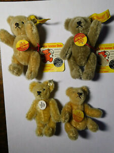 Lot Of 4 STEIFF GERMANY BUTTON & TAG 3 Fully Jointed Miniature PLUSH TEDDY BEAR