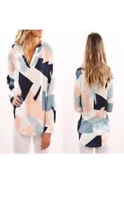 PlusSize Women VNeck Printed Long Sleeve Shirt Ladies Casual Loose Blouse SIZE16