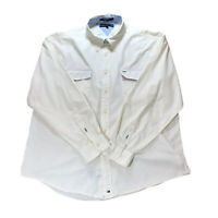 Tommy Hilfiger Cream Off White Solid Long Sleeved Shirt Mens Logo | Size 2XL XXL