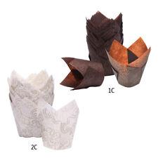 50x Backförmchen aus Papier in Tulpenform, für Cupcakes, Muffins, Braun und We*m