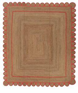 Jute Rug Square Shape Reversible 100% Jute Design Rug Braided Modern Rustic Look
