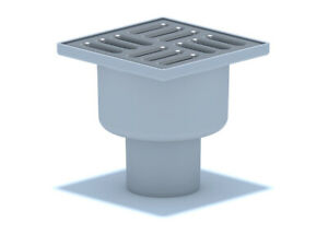 Bodenablauf Edelstahl Durchgang DN50 100x100 mm Abgang Senkrecht Duschablauf