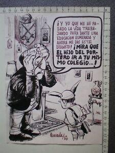 CARICATURA ORIGINAL DE FERNANDO QUESADA PORTO 1970 (Orense 1933) OBRA DE MUSEO