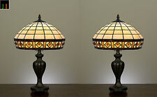 Pair - JT Tiffany Diamond Stained Glass Table Lamps Light Leadlight Home Decor