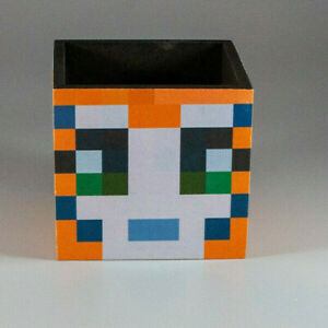 Mine craft inspired stampy wooden  pencil /pen pot  desk tidy great gift