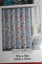 Groovy Butterflies Design Polyester Shower Curtain with 12  Hooks