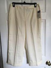 NWT REQUIREMENTS WORLD BEAT Ivory Ecru Dress Capri Cuffed Pants - Size 12