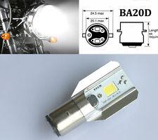 Motor Bike/Moped/ATV White COB LED Headlight Bulb DRL BA20D H6 800LM 12W US POST