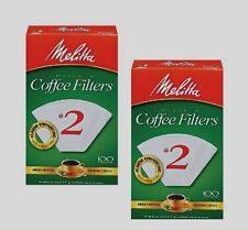 2* 100ct MELITTA Cone Coffee Filters #2 White Manual Makers Ready Set Joe 622712
