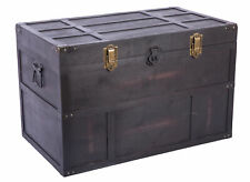 New Antique Style Large Dark Wooden Storage Trunk with Lockable Latch, QI003609L
