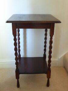 Antique Oak Two Tier Side Table With Barleytwist Legs 73 x 46 x 46cm