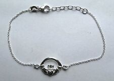 "925 Sterling silver 7"" lightweight Claddagh Bracelet"