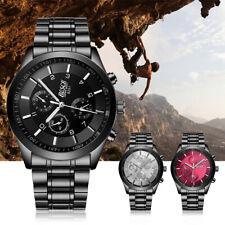 Mens Analog Watch Quartz Sport Stainless Steel Bracelet Watchband Wristwatch