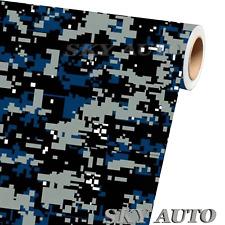 Digital Blue Camouflage Vinyl Car Wrap Film Sheet Free Tools 2 Feet Amp Up