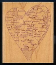 MAP VALENTINE DAY HEART Romance LOVE WORDS large HERO ARTS H1933 RUBBER STAMP
