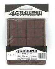 4Ground PBB-2020 20mm x 20mm Brown Primed Bases (60) Square Wood Plain Generic