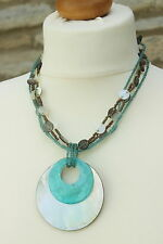 Handmade 4 Strand TURQUOISE Bronze Seed BEAD & 2 SHELL Disc PENDANT NECKLACE 14""