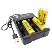 4pcs 18650 Batería 9800mAh 3.7V Li-ion Recargable + USB Cargador for Flashlight