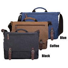 """Men Canvas 15"""" Laptop Shoulder Messenger Bag Office Briefcases Work Handbag Tote"""
