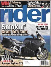 Rider motorcycle magazine. July 2006. BMW Gran Turismo K1200GT, Triumph Daytona.