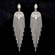 Rhodium Plated Cubic Zirconia CZ Wedding Drop Dangle Tassel earrings 932 Sparkly