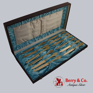 Antique Tiffany and Co Italian Set of 12 Dessert Knives Sterling Silver 1870