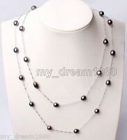 """45"""" Long Genuine 7-8mm Black Freshwater Pearl White Gilded Necklace Jewelry"""
