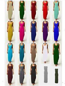 Womens Ladies Sleeveless Vest Midi Bodycon Casual Summer Full Lenght  Dress