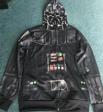 NEW Mens S DARTH VADER Zip Up Hoodie Costume Sweatshirt W/Mask Hood Small