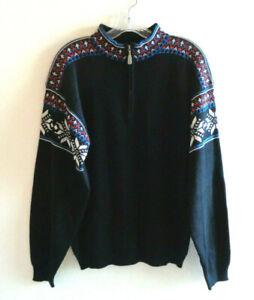 Vtg Mens Meister Sz M Black Nordic ¼ Zip Sweater Wool Blend